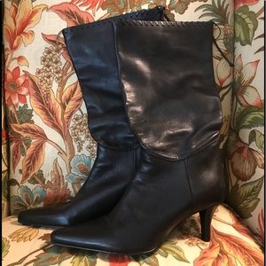 Nine West mid rise leather boot